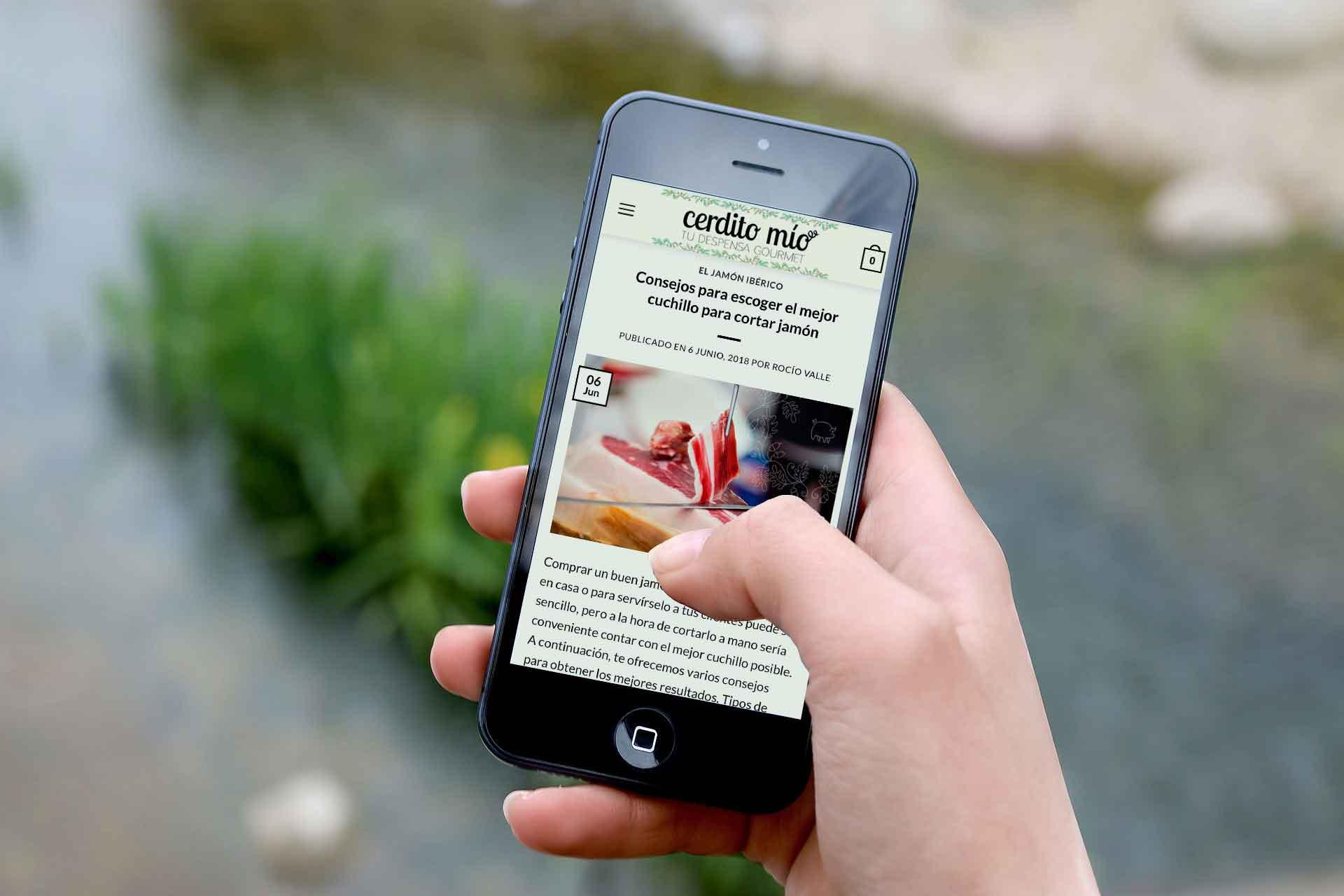Ivory: Proyecto Ecommerce para Cerdito Mío, versión móvil